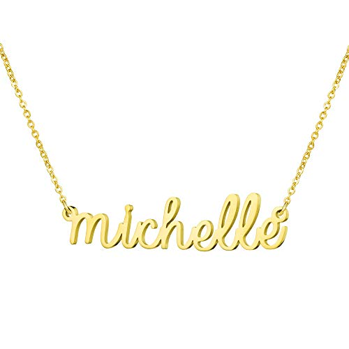 Yiyang Graduation Jewelry for Girls Personalized Name Necklace 18K Gold Plated Stainless Steel Birthday Gift for Women Michelle