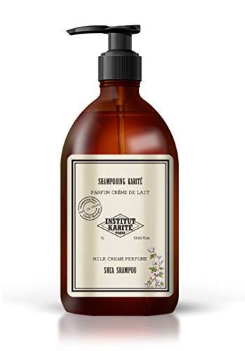 Institut Karité Paris – Shampoing au Beurre de Karité pour Cheveux Secs et Abimés 1L – Soin Apaisant, Fortifiant & Hydratant – Parfum Crème de Lait – Shea Butter Hair Shampoo