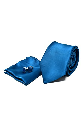 Coffret Ensemble Cravate Homme, Mouchoir de Poche, Boutons de Manchette Bleu Turquoise - 100% en Soie - Classique, Elégant et Moderne - (Idéal pour un