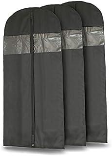 """Plixio 60"""" Black Garment Bags for Breathable Storage of Dresses & Dance Costumes, Suits-Includes Zipper & Transparent Window (3)"""