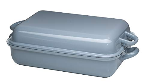 Generisch Riess, 0105-065, Bratpfanne mit Deckel 37/26, Bräter, Ofenpfanne, Classic - Pure Grey, 37 x 26 cm, Höhe 13,3 cm, Emaille, helles Grau