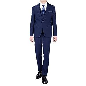FOMANSH スーツ メンズ スリーピーススーツ スリム 無地 スタイリッシュ 上下