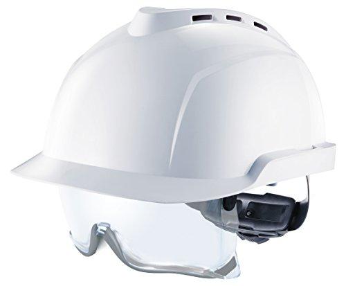 MSA V-Gard 930 Profihelm | Entspricht DIN EN397 | mit Belüftung und Drehradregelung Fasttrack | inkl. Integriertem Schutzvisier/Schutzbrille | Farbe: Weiß