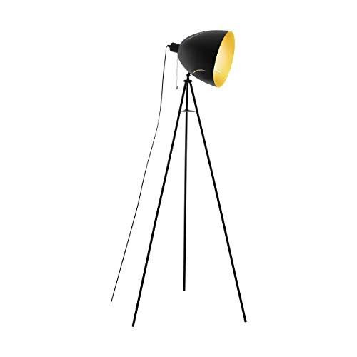 EGLO Stehlampe Hunningham, 1 flammige Stehleuchte Industrial, Vintage, Modern, Standleuchte aus Stahl, Wohnzimmerlampe in schwarz und gold, Lampe mit Zug-Schalter, E27 Fassung