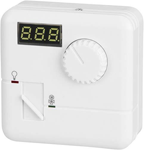 Termostato digital de pared (230 V, 1600 W, regulador giratorio, climatización y calefacción)