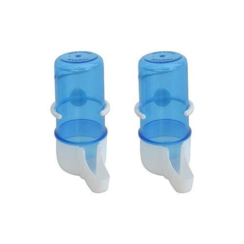 AZXAZ 2 Stück Vogel Trinkbrunnen Automatischer Plastik Wasserzufuhr Käfig Hängende Trinkflasche Für Vögel Papageien Tauben Lovebirds Blau (65ml)