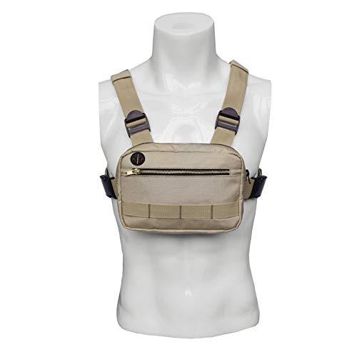 JLDUP Bolsa de pecho de moda para hombres y mujeres, bolsa de hombro tracffy Front Pack Chest Rig Crossbody Bolsas Hip Hop Mochila con puerto para auriculares