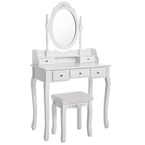 SONGMICS Coiffeuse Table Blanche de Maquillage avec Miroir, 5 tiroirs, séparations pour tiroir et Tabouret,fixée au Mur RDT15W