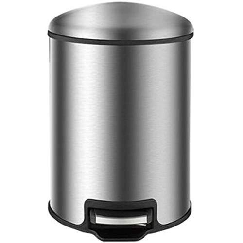 LXDZXY Botas de Basura, Papel Delgado Pedal Touch Top Bin/Dustbin/Rubbish Bin/Kitchen/Home/Plastic- 12 L,Plata