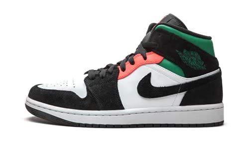 Nike Uomini Air Jordan 1 Mid SE South Beach - 852542 116 - colore bianco, Hot punch, nero, Bianco (bianco), 43 EU