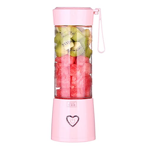 YLLYLL Mini Portable Juicer Machine Electric Mixer Fruit Smoothie Blender Cup for Personal Food Processor Maker Juice Extractor Gym - Perfect Travel Partner (Color : Pink)