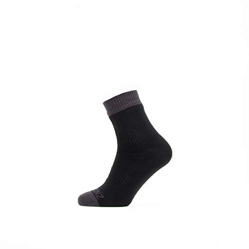 SealSkinz Waterproof Warm Weather Ankle Length Sock Unisex Erwachsene, schwarz/grau, M