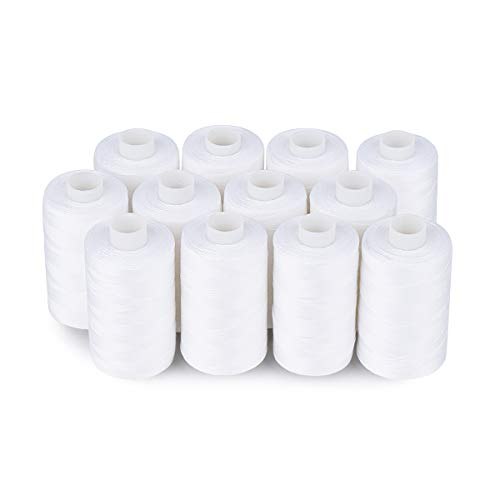 Simthread 12 White Color All Purposes Cotton Quilting Thread for Piecing Sewing Appliqué Embroidery etc