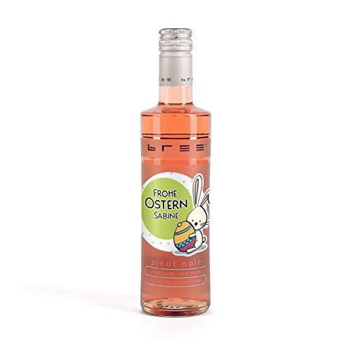 Herz & Heim® Bree Wein in Kleinflasche (1 x 0.25 l) ein effektvolles Ostergeschenk mit Namen im Etikett Rosé