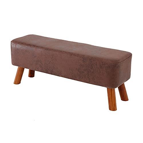 Reposapiés, taburete rectangular, reposapiés de tela, taburete tipo puf, cambiador de zapatos, patas de madera, adecuado para sala de estar, dormitorio, entrada/A / 90x28x33cm