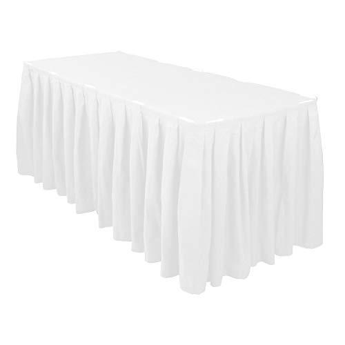 WedDecor Schwarz 14ft Polyester Tisch Rock mit Nylon Verschlüsse für Einfache Befestigung - Dekorativ Tisch Kleidung für Hochzeit, Partys, Feier, Events, Passt 2.5ft X 4ft Tisch - Weiß, 17 feet