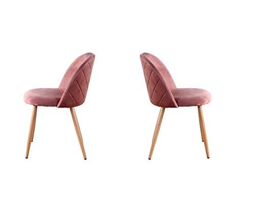12365 Juego de 2 sillas de comedor modernas de terciopelo suave con patas de madera para sala de estar, ocio, dormitorio y bar (rosa)