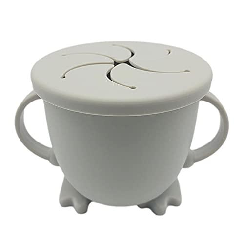 200ML Vaso de Silicona de Paja para Bebé con Dos Asas Taza de Silicona Bocadillos Sin Derrames Taza de Entrenamiento para Bebés