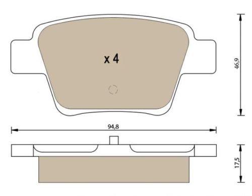 Patins de frein arrière P1310