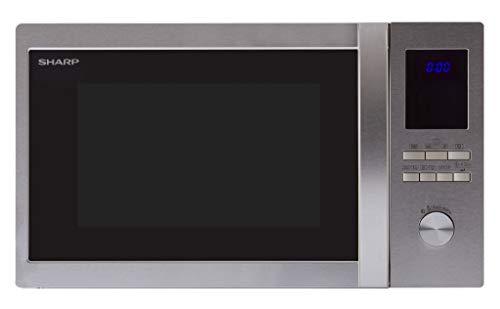 Sharp R922STWE 3-in1  Mikrowelle mit Grill und Heißluft / 32 L / 1000 W / 1100 W Infrarotgrill / 2500 W Heißluft / LED-Display / 10 Automatikprogramme / Gewichtgesteuerters Auftauen / Edelstahl