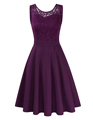 Clearlove Damen Kleider Elegant Spitzenkleid 3/4 Ärmel Cocktailkleid Rundhals Knielang Rockabilly Kleid(Verpackung MEHRWEG), Ärmellos Lila, M