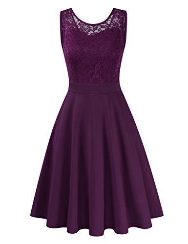 Clearlove Damen Kleider Elegant Spitzenkleid 3/4 Ärmel Cocktailkleid Rundhals Knielang Rockabilly Kleid(Verpackung MEHRWEG), Ärmellos Lila, L