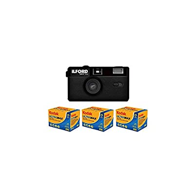 Ilford Sprite 35-II Reusable 35mm Film Camera with 3-Pack Kodak UltraMax 400 Film Analog Film Bundle (4 Items) from