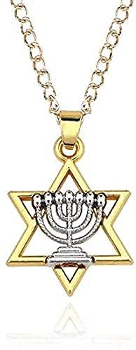 ZGYFJCH Co.,ltd Collar Menorah Religiosa y Estrella de David Joyas judías Collar Estómago Judaica Lámpara Hebrew Faith Israel Chanukkah Colgante Regalos