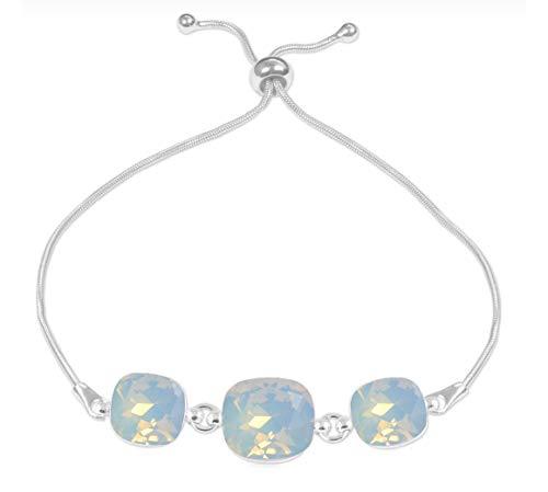 Beforya Paris – Pulsera ajustable * Triple Square * * * White Opal* – Pulsera de plata 925 con elementos originales Swarovski – maravillosa pulsera madre mujer regalo con caja de regalo