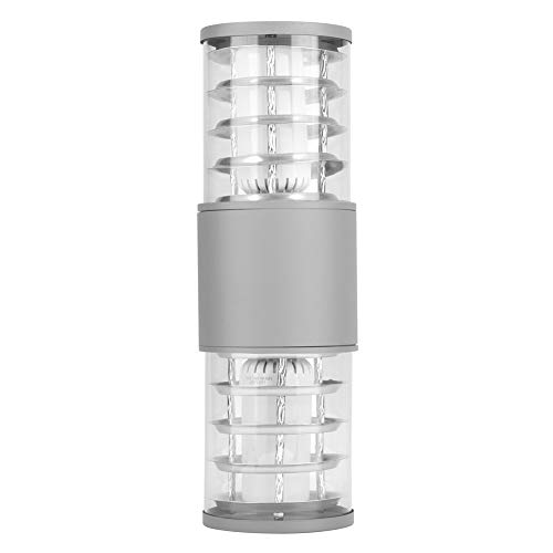 Yivibe Lámpara de Pared, lámpara para Exteriores, zócalo Industrial Duradero de 24 W E27 para el hogar para jardín(Grey, Cold White, Transl)