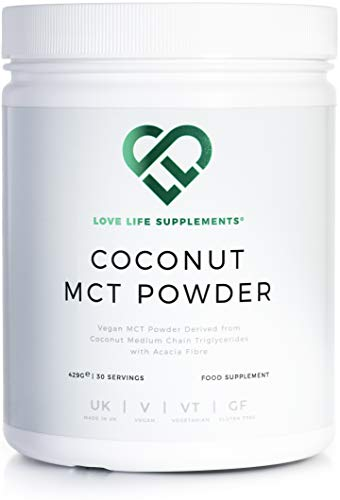 Coconut MCT Powder by LLS | Vegan | High in Healthy Fats and Fibre | 0g Carbs | Perfect for Keto Diet | 430g - 30 Servings | Love Life Supplements