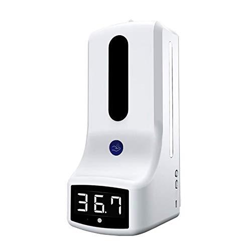 Alta calidad Termómetro montado en la pared con dispensador de manos, medición automática de temperatura K9, con alarma, para escuelas de oficinas para perfumes, fragancias, champú ( Color : White 2 )