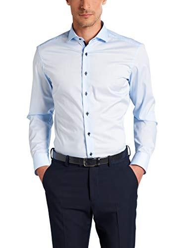 ETERNA Langarm Hemd SLIM FIT Stretch unifarben- Gr. 40, Hellblau