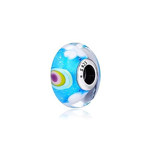 LIIHVYI Pandora Charms para Mujeres Cuentas Plata De Ley 925 Regalo De Joyería De Bricolaje De Cristal De Murano Arcoíris Iridiscente Compatible con Pulseras Europeos Collars