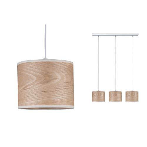 Paulmann 79641 Neordic Neta Pendelleuchte max. 3x20W Hängelampe für E27 Lampen Deckenlampe Weiß 230V Holz/Metall ohne Leuchtmittel