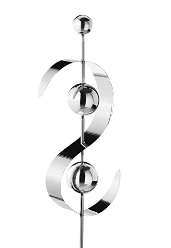 Kobolo Gartenstecker Dekostecker Wave aus Edelstahl Silber 134 cm