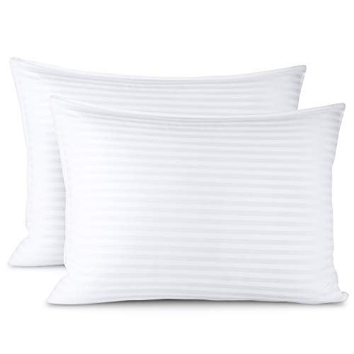 Clara Clark Bed Pillows for Sleeping | Down Alternative Sleep Pillows Standard Size Set of 4 | 100% Cotton Pillow Covers with Poly Fiber Filling | Soft Pillow for Sleeping