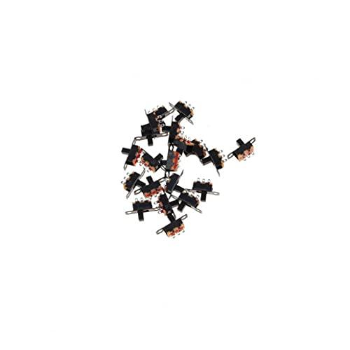 MaylFre 2 Posición 3 Pines Micro SPDT PCB Miniatura Interruptor Deslizante Interruptor con Bloqueo de Palanca para la pequeña de Bricolaje de energía proyectos electrónicos 20pcs (Negro)