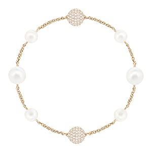 Swarovski Remix Round Pearl Strand Armband, Rosé Vergoldetes Damenarmband mit Funkelnden Kristallperlen