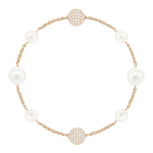 Swarovski Remix Collection Round Pearl Strand, Bianco, Placcato Oro Rosa