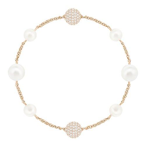 Swarovski Remix Collection Round Pearl Strand, Blanco, Baño en Tono Oro Rosa