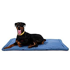 K9 Ballistics Tough Dog Crate Pad – Washable, Durable and Waterproof XL Dog Crate Beds – X-Large Dog Crate Mat, 47″x28″, Blue