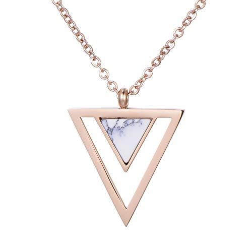 Morella Collana da Donna in Acciaio Inox Oro Rosa con Ciondolo Doppio Triangolo Bianco in Sacchetto di Velluto