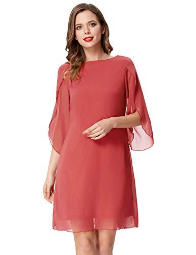 Vestido Mujer Blusa Gasa Manga 3/4 Casual Oficina Cuello Redondo Elegante Vestido Top L Cl011125-7