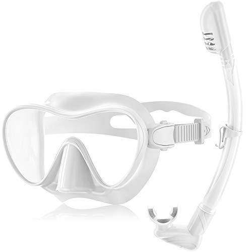 Splonary Dry Schnorchel-Set, Anti-Leck, rahmenlose Tauchmaske mit Anti-Beschlag-Hartglaslinse, einfach zu atmen, faltbar, für Erwachsene, Weiß - Erwachsene