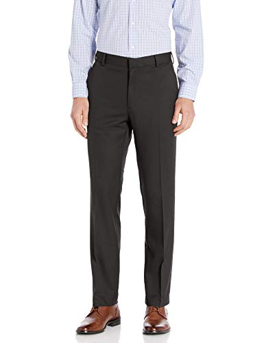 Arrow Men's Aroflex Flat Front Straight Fit Pant, Black, 42W x 29L