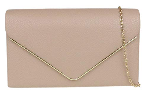Girly Handbags Marco bolso de embrague metálico (nude)