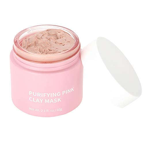 Pink Clay - Mascarilla para lavado facial, barro, mascarilla blanqueadora antiarrugas, cuidado de la piel