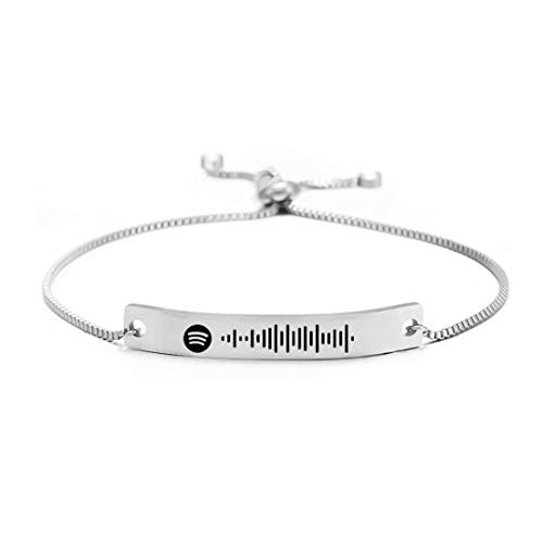 Pulsera de código de Spotify de música personalizada para hombres, mujeres, joyería de código de canción personalizada de acero inoxidable delicado, pulsera de barra de eslabones de tobillo