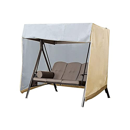 Haugo Cubierta para columpio de jardín para exteriores, impermeable, cubierta para balancín de jardín, plegable, color beige